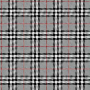 Grey, red & black plaid