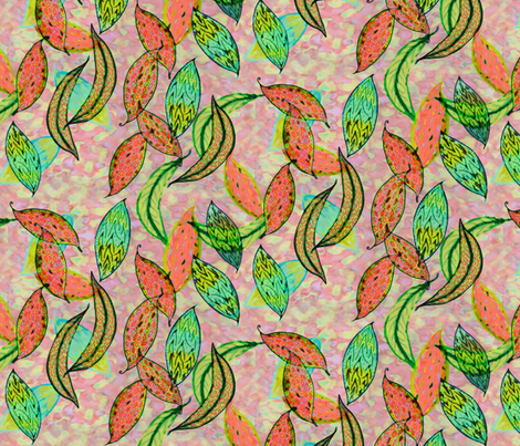 Love leaves on a salmon pink background fabric by su_g on Spoonflower - custom fabric