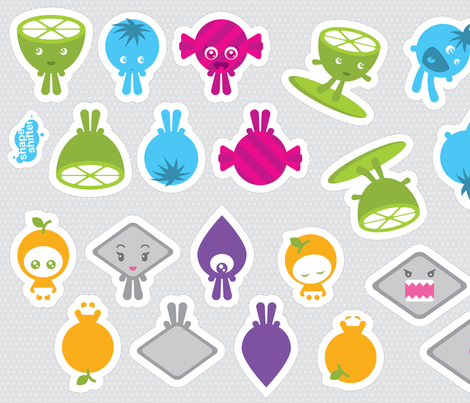The Sour Surfer and friends dolls fabric by shapeshifter on Spoonflower - custom fabric