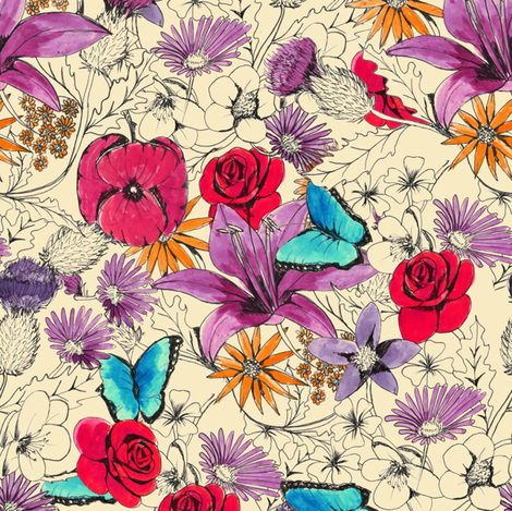 Butterflies in the garden fabric by sary on Spoonflower - custom fabric