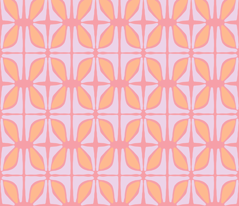 Petals (salmon, lilac & tangerine) fabric by pattyryboltdesigns on Spoonflower - custom fabric
