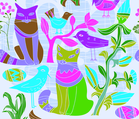 Cats Birds and retro flowers pattern fabric by dushanmedich on Spoonflower - custom fabric