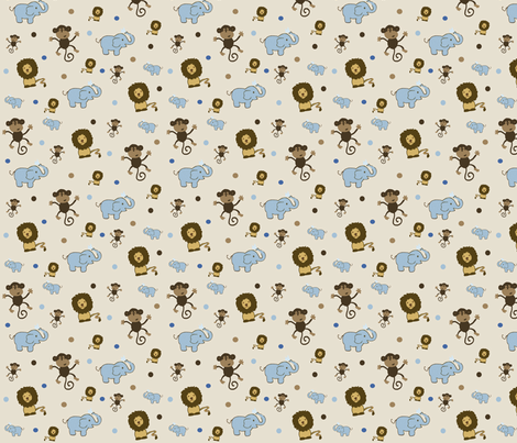 Jaxon's quilt, Monkey, Lion, Elephant fabric by c01180 on Spoonflower - custom fabric