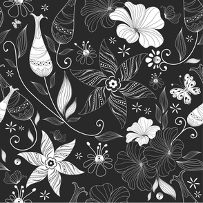 Black and white retro fashion pattern