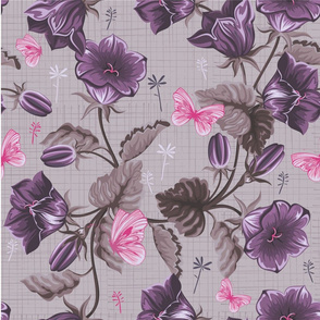 Purple and pink retro flower pattern