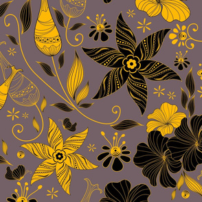 Retro floral pattern-Dusty rose and yellow