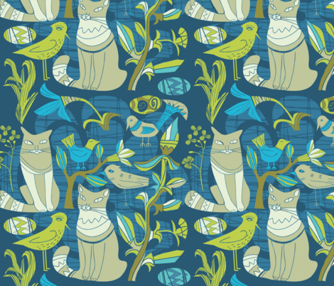 Retro Pattern- Cats birds and flowers- Blue and green  fabric by dushanmedich on Spoonflower - custom fabric
