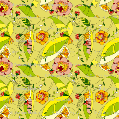 Yellow and green tones retro floral collage