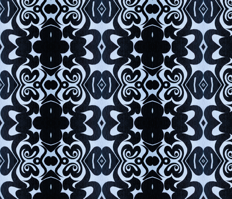 Black_on_Blue_Large fabric by mikep on Spoonflower - custom fabric