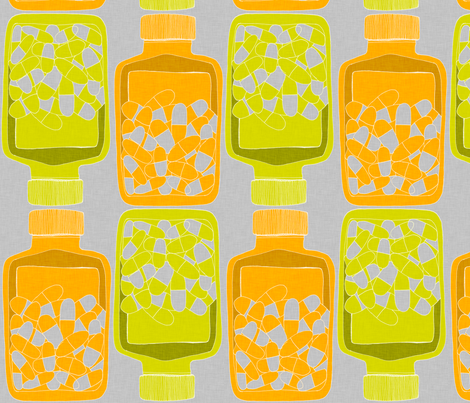 pillBottleGreenOrange10_150 fabric by maker_maker on Spoonflower - custom fabric
