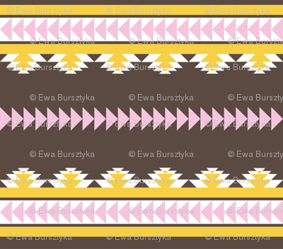 aztec stripes darkbrown pink & yellow