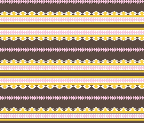 aztec stripes darkbrown pink & yellow fabric by ravynka on Spoonflower - custom fabric