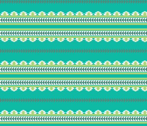 aztec stripes teal fabric by ravynka on Spoonflower - custom fabric