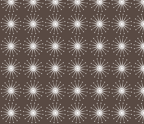Starspangle (White on Brown) fabric by bippidiiboppidii on Spoonflower - custom fabric