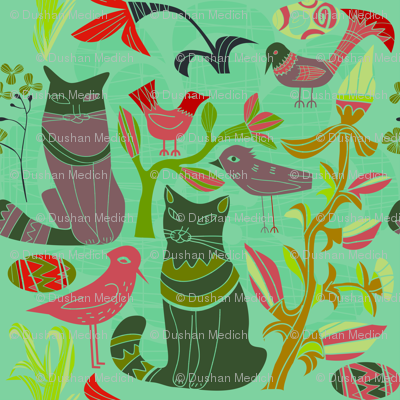 Birds cats flowers retro pattern green tones