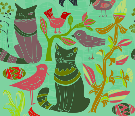 Birds cats flowers retro pattern green tones fabric by dushanmedich on Spoonflower - custom fabric