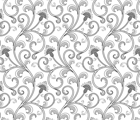 Black and White floral fabric by jazzypatterns on Spoonflower - custom fabric