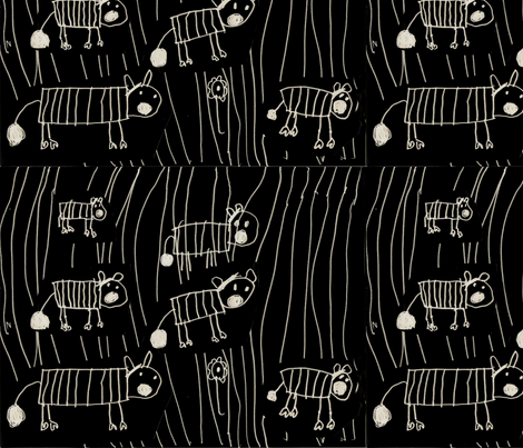 Zebras by Aurora on black mirror image fabric by aurora_annabella on Spoonflower - custom fabric