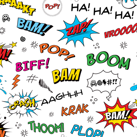 Comic Adventures: Comic Book Sound Effects fabric by jazzypatterns on Spoonflower - custom fabric