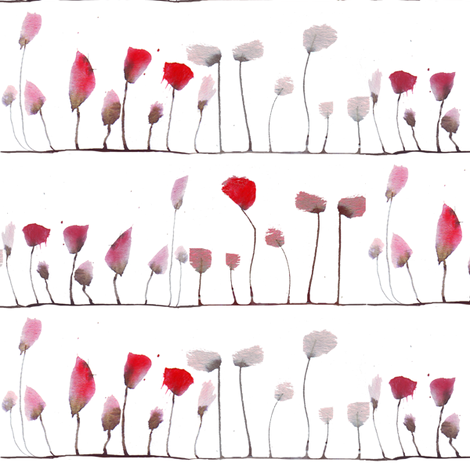 poppies stripe fabric by katarina on Spoonflower - custom fabric