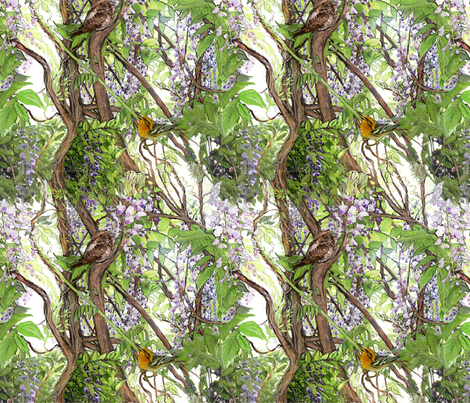 Wisteria Warbler Whippoorwill 2 fabric by wren_leyland on Spoonflower - custom fabric