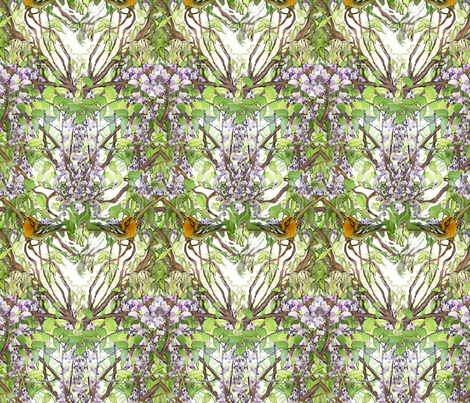 Warbler in Wisteria, narrow version fabric by wren_leyland on Spoonflower - custom fabric