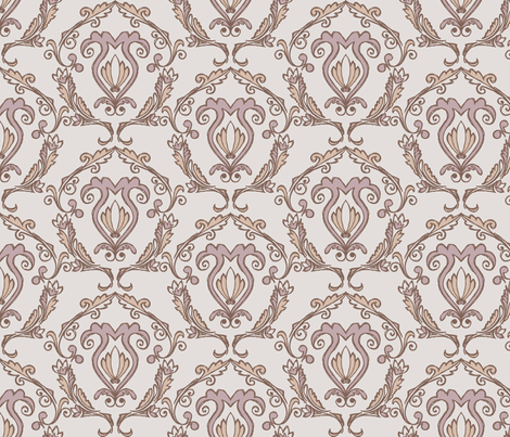Doodled Damask - Scheme 3 fabric by rgushi on Spoonflower - custom fabric