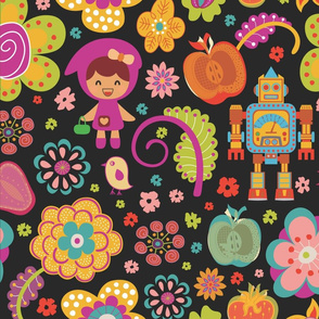 Colorful Cute Retro Flowers and Shapes Pattern