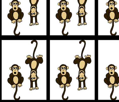 tiledMonkeywhite fabric by sharpestudiosdesigns on Spoonflower - custom fabric