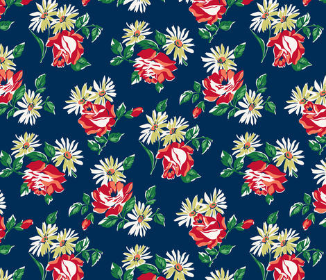 KC floral navy colorway fabric by minimiel on Spoonflower - custom fabric