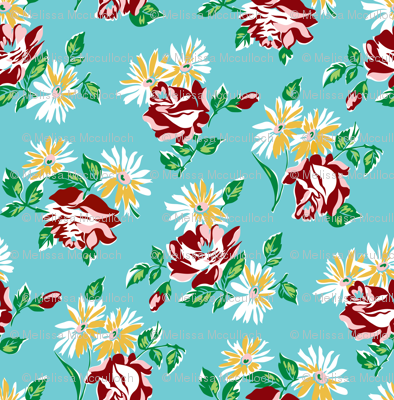 KC floral aqua colorway