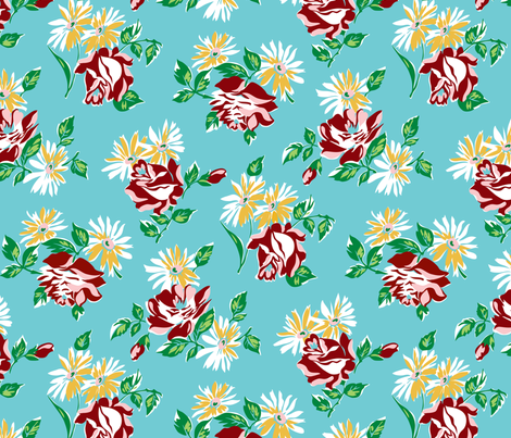 KC floral aqua colorway fabric by minimiel on Spoonflower - custom fabric