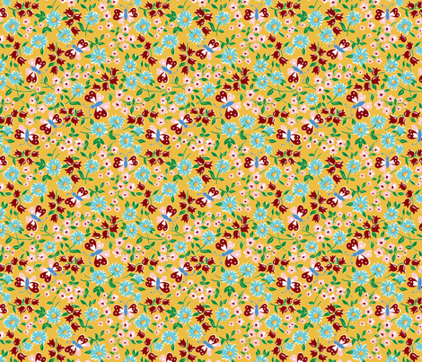 KC butterfly aqua fabric by minimiel on Spoonflower - custom fabric