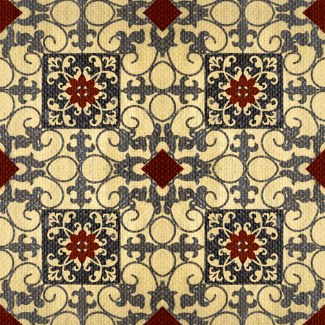 French hen house tile / burlap fabric by paragonstudios on Spoonflower - custom fabric