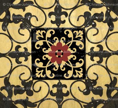 French hen house tile/ multi