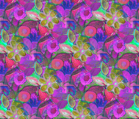 flower_painting_reversed_colours_tiled fabric by vinkeli on Spoonflower - custom fabric