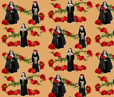 Nuns n' Roses fabric by littleliteraryclassics on Spoonflower - custom fabric
