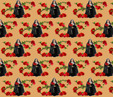 Nuns n' Roses 2 - On Repeat fabric by littleliteraryclassics on Spoonflower - custom fabric