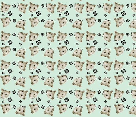 Mustachioed Hamster Mint fabric by margaretdaniero on Spoonflower - custom fabric