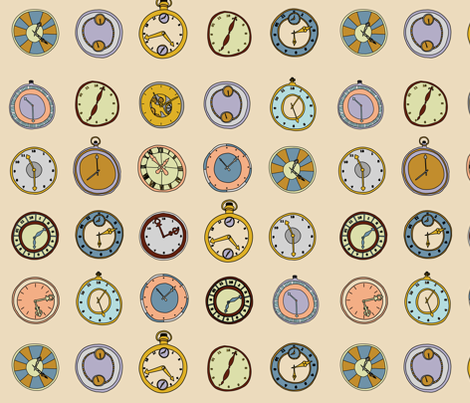 hand drawn clocks fabric by lisa_brown on Spoonflower - custom fabric