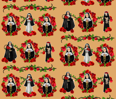 Nuns N' Roses 3 fabric by littleliteraryclassics on Spoonflower - custom fabric