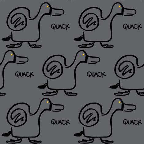 Quack Attack (dark grey) fabric by christine_wichert_arts on Spoonflower - custom fabric