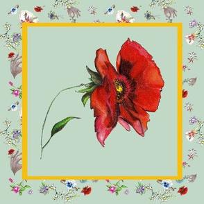 Dainty Delights Red Poppy on Seafoam Green