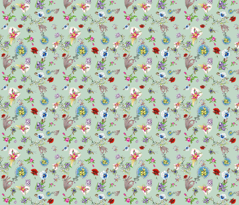 Dainty Delights Minis on Seafoam green fabric by suzhar on Spoonflower - custom fabric
