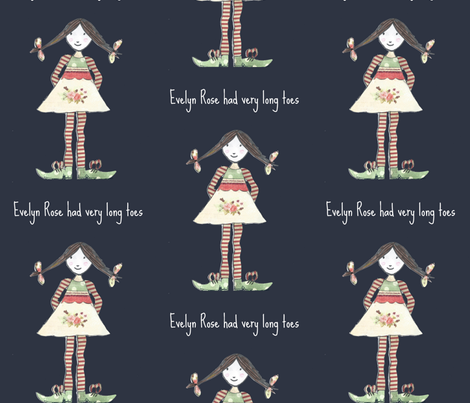 Evelyn Rose with very Long Toes fabric by evelynrosedesigns on Spoonflower - custom fabric