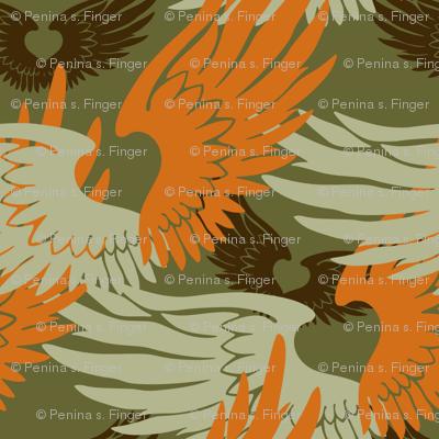Heartwings II: Green, Orange, Brown