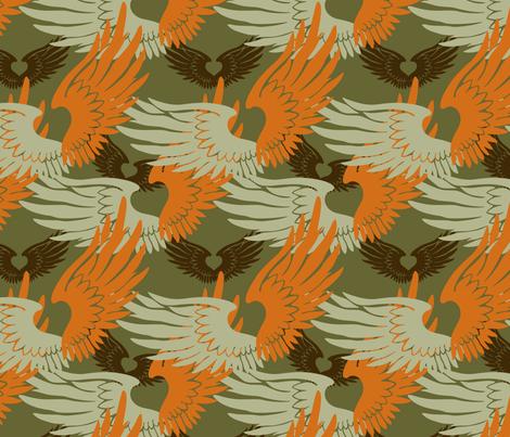 Heartwings II: Green, Orange, Brown fabric by penina on Spoonflower - custom fabric