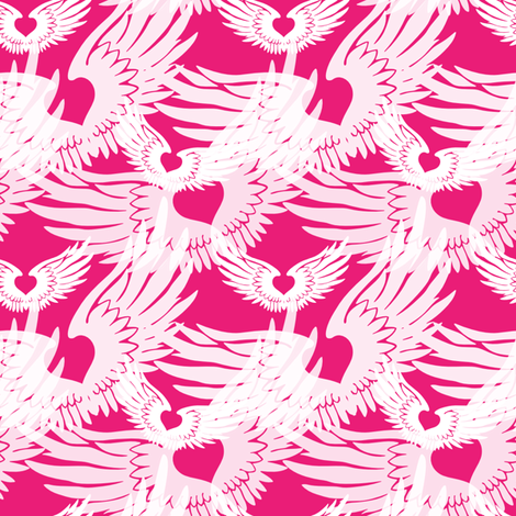 Heartwings II: Pink and White (halfscale) fabric by penina on Spoonflower - custom fabric