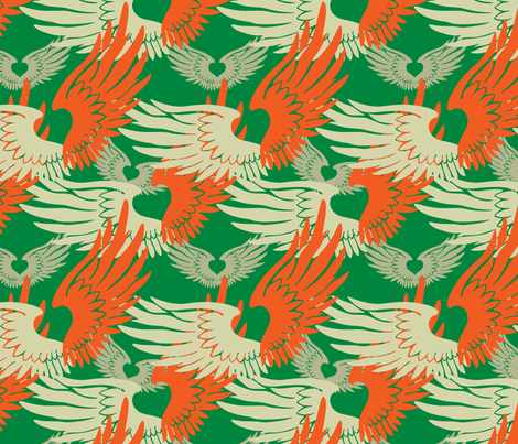 Heartwings II: Green, Orange, Beige fabric by penina on Spoonflower - custom fabric
