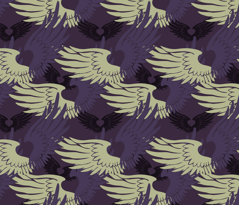 Heartwings II: Purple, Beige fabric by penina on Spoonflower - custom fabric